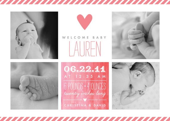 Baby Girl Birth Announcement - 5x7 Printable