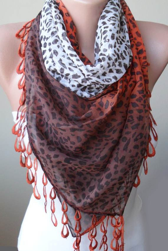 Brown - Brick and Off-White - Silk - Chiffon Scarf with Trim Edge - Leopard Print