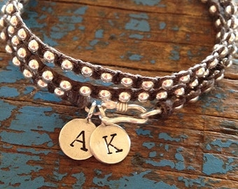 Personalized Initial Charm Wrap Bracelet - Thai Silver Charm, Waxed Irish Linen with Sterling Silver Beads and Thai Silver Clasp
