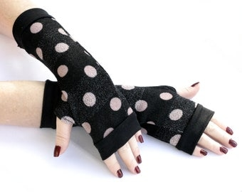 Black Warm Super Soft Fingerless gloves with pink dots -  Arm Warmers Pink Polka dots Mittens Christmas