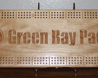 Green Bay Packer Cribbage Board Made From Maple Wood