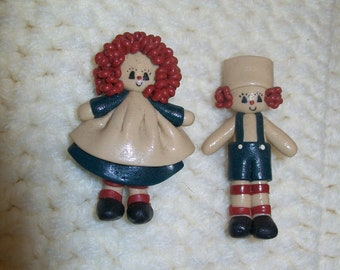 Hand Crafted Polymer clay Raggedy Ann & Andy figurine pins