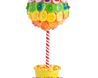 Rainbow Gummy Bear Candy Land Centerpiece Topiary Tree, Candy Buffet Decor Arrangement Wedding, Mitzvah, Party Favor, Edible Art