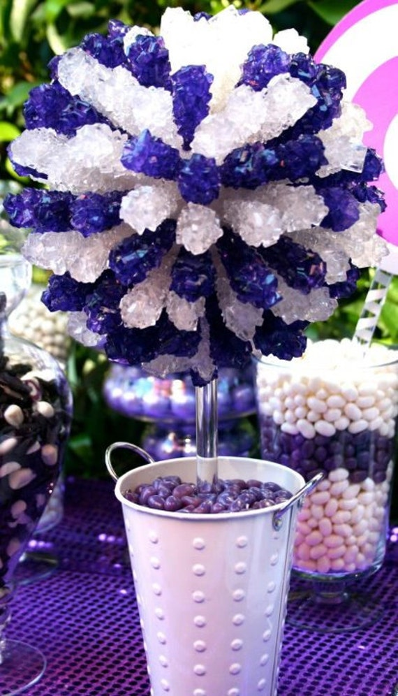 Silver rock candy centerpiece topiary tree candy buffet decor candy