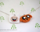 Finn and Jake - Adventure Time Necklace ( Polymer Clay )