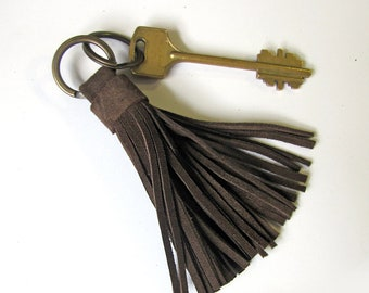 Leather Tassel Keychain, Dark brown color