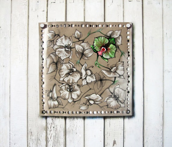 Original Green Orchid art on leather, Small painting, Ready to hang