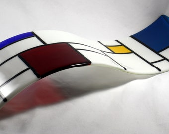 Fused Glass Wall Art/ Sculpture- De Stijl White (Made to Order)