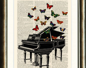 Vintage Piano Illustration with Butterflies - vintage image printed on a page from a late 1800s Dictionary Buy 3 get 1 FREE