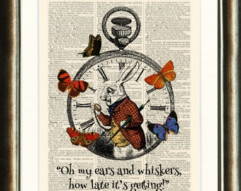 Alice in Wonderland White Rabbit & Pocket Watch - vintage image printed on a late 1800s Dictionary page Buy 3 get 1 FREE