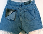High Waisted Jean Shorts with a Gunmetal Stud Filled Pocket