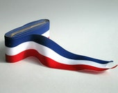 1 meter Wide ribbon of blue, white, red...ribbon medal / 2 inches wide