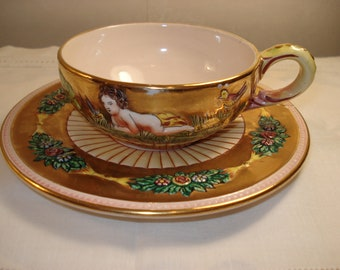 Vintage Capodimonte Large Cup and Saucer with Gold