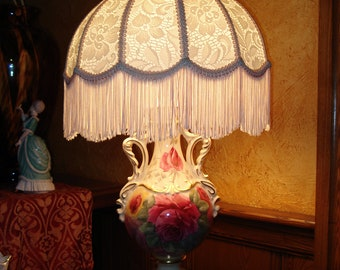 Hand Painted and Signed  Vintage Lamp with Roses