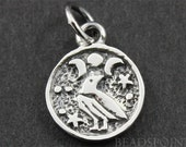 Sterling Silver Bird on a Disc Charm / Pendant with Jump Ring, Bird Life Jewelry Component, (SS/CH6/CR36)