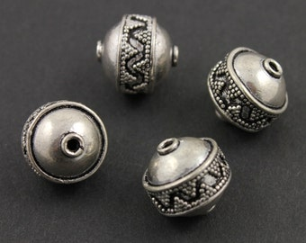 Sterling Silver Handmade Bali Round Bead with Detailed Pattern, 13x13mm Accent for Beaded Jewelry,1 Piece (BA-5029)