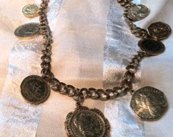 Groovy Vintage Coin Necklace 1960s Mid Century Yellow Gold Plated