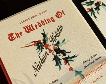 Red Holiday Wedding Invitations Vintage Christmas Wedding Invitation Printable DIY or Ship