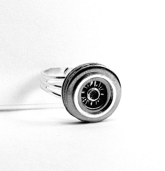 Silver Mens Ring, Hubcap Style, Industrial, Adjustable, Unique Gift for Car Enthusiast