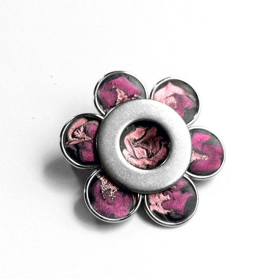Pink Flower Silver Brooch, Magenta Metal Flower Pin, Pink Flower Brooch, Magenta Pin, Metal Flower Brooch, Stainless Steel, Gift for Her
