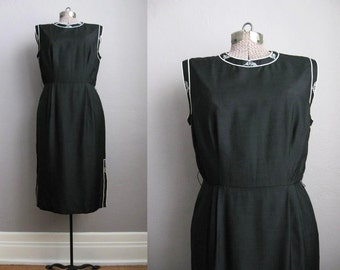 1950s Black Dress Silk Bruce Arnold Couture / Medium