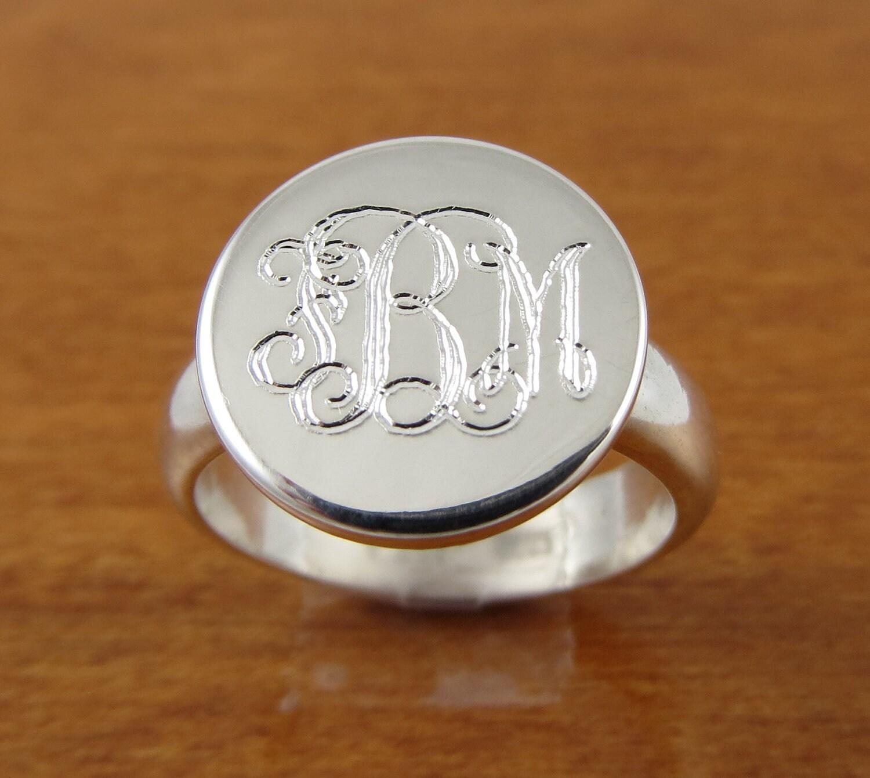 Etsy Monogram Silver Ring