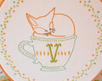 Vixen, Fox, V, Hand Embroidery Letter V, Embroidery Letter V, Teacup, Embroidery Pattern PDF - V is for Vixen (In a Little Teacup)