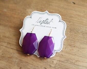 Plum Purple Statement Earrings, Purple Beaded Earrings, Purple Dangle Earrings