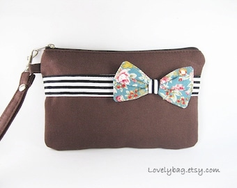 SUPER SALE - Brown with Little Bow Clutch - Bridal Clutch, Bridesmaid Wristlet, Wedding Gift, Cosmetic Bag, Zipper Pouch - Made To Order