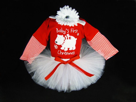 Baby Girl Christmas Outfit - Babys First Christmas Tutu Set - Girls Onesie and Headband Set -  Last One - Size 6-9 Months