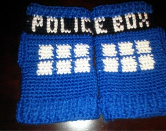 Doctor Who Tardis Inspired Fingerless Gloves Police Box or Bad Wolf