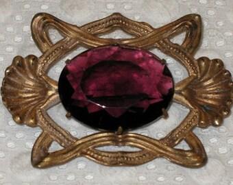 Vintage Antique EDWARDIAN SASH PIN with Large Amethyst Purple Stone