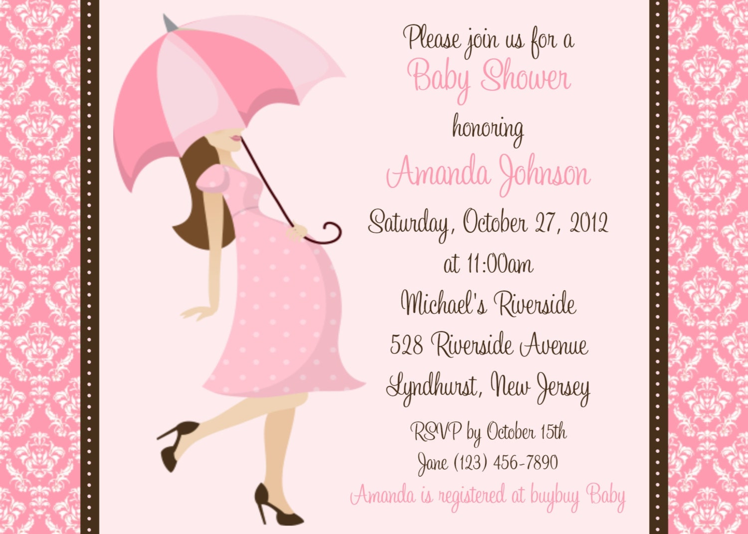 damask baby shower girl invitation by afairytalebeginning on etsy