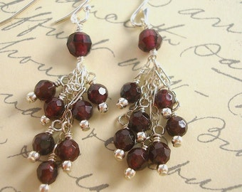 Sterling silver and faceted garnet tassel earrings by Cerise Jewelry