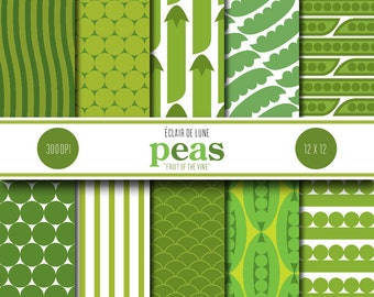 Peas Digital Scrapbook Paper Green Pea