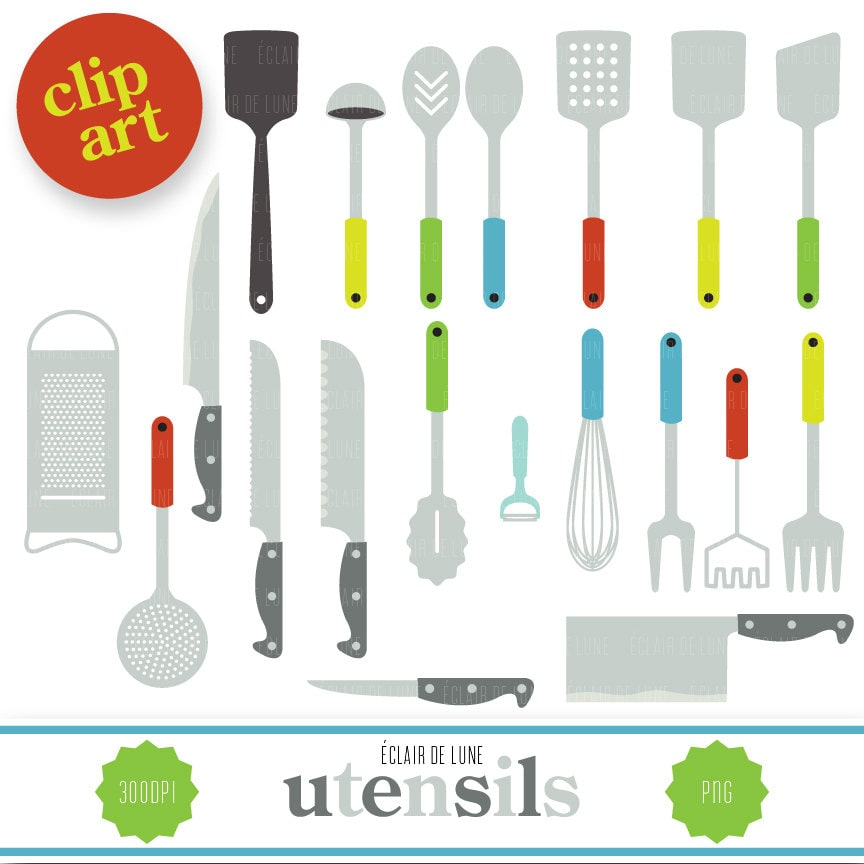 Utensils clip art food clipart kitchen for Art cuisine evolution 10 piece cooking set