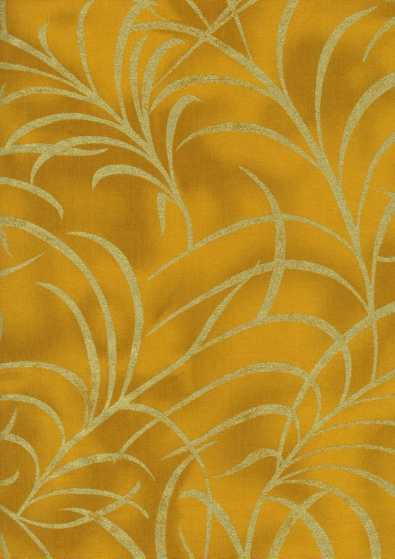 Plume by Timeless Treasure CM8664 Large Plume Gold 1 yard