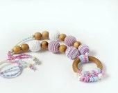 Crochet Nursing/Teething necklace with ring for Mother and child - Teething necklace with crochet beads Nursing Breastfeeding Mommy