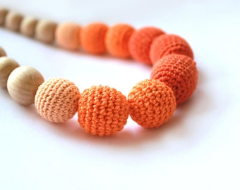 Orange Nursing necklace - Breastfeeding Necklace -  Orange/ Tangerine Crochet Necklace for mom and child