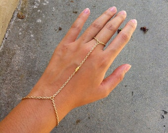 22K Shiny Gold 3 Nugget Bead Hand Chain Bracelet Ring