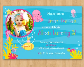 Girl Under the Sea Birthday Invitation - DIY Custom Printable