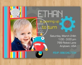 Little Robot Birthday Invitation - DIY Custom Printable
