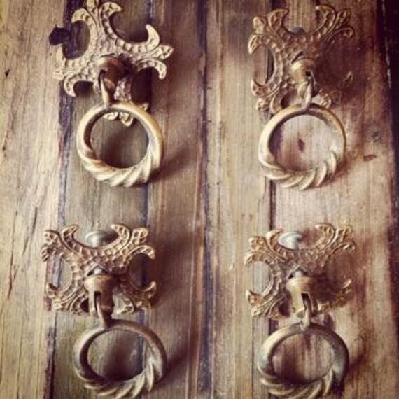 Antique Vintage french pulls -set of 4-