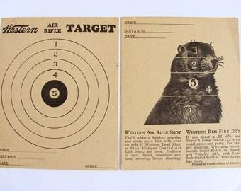 Vintage Ground Hog Two Sided Air RifleTarget by Western Printed 0n Heavy Stock