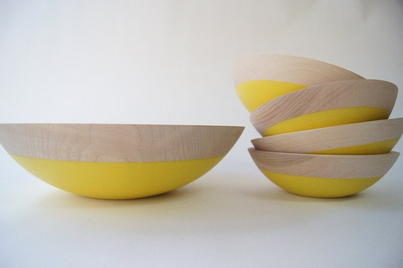 Wooden Salad Bowl Set of 5, Sunflower Yellow, Home Decor, Kitchen