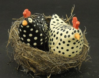 Salt and Pepper Black and White Ceramic Chickens, Spring Chickens. Mother Hens