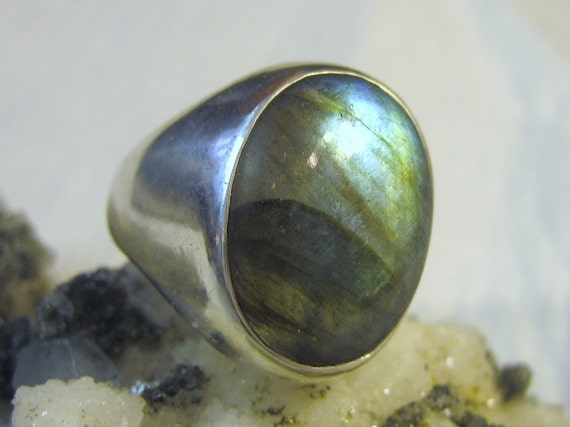 Labradorite Men's or Women's Ring Cast in all 925 Sterling Silver