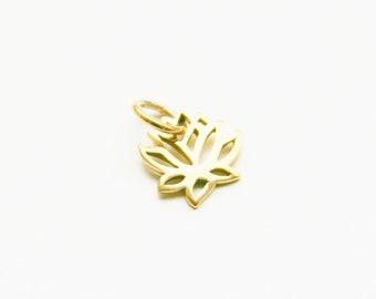 Bronze Small Lotus Charm, Lotus Charm, Bronze Lotus Charm, Yoga Charm, Small Bronze Lotus Charm, Lotus