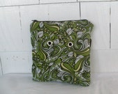 Knitting Small Project Bag with grommets -green  scroll print