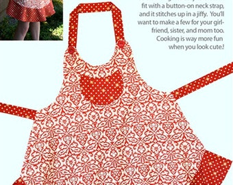 Sassy Little Apron Pattern to Make DIY Sewing Cabbage Rose Sewing One size Adjustable
